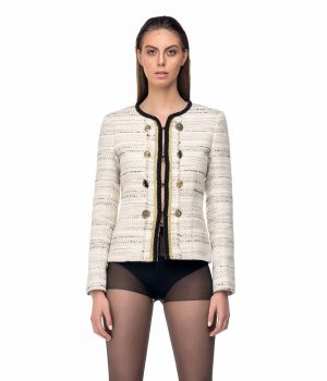 beige perl black jacket