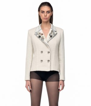 white jacket blazer silver