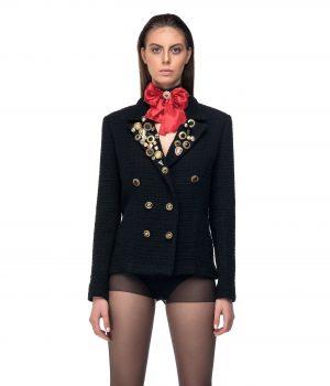black jacket ribbon red